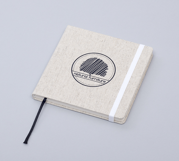 MN33 Mindnotes con cubierta de tapa dura desde telas Lino color, Lino nature